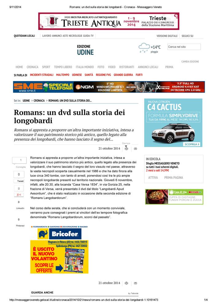 21 - Messaggero Veneto 21 ottobre 2014
